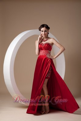 Wine Red Evening Dress Column Sweetheart Elastic Woven