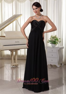 Sweetheart Beaded Evening Dress Black Satin Chiffon