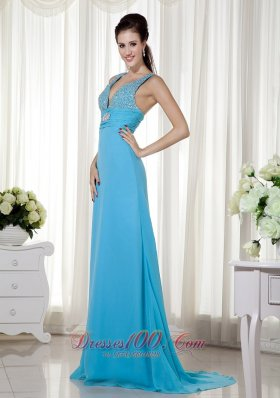 Baby Blue Column Prom Evening Celebrity Dress Chiffon Beading