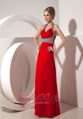 Beautiful Wine Red Column Halter top Prom Evening Dress Beading
