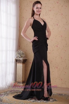 Column Sheath Halter Brush Chiffon Ruch Prom Evening Dress