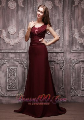 Burgundy Column V-neck Brush Chiffon Prom Evening Dress