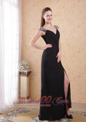 Black Column Sheath V-neck Chiffon Beading Prom Evening Dress