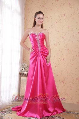Pink Empire Sweetheart Sweep Taffeta Beading Prom Evening Dress