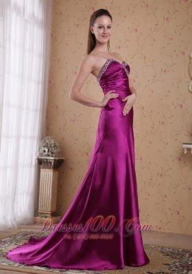 Fuchsia Sheath Sweetheart Sweep Elastic Woven Prom Evening Dress
