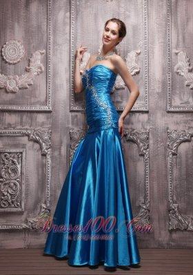 Blue Column Sweetheart Taffeta Beading Ruch Prom Evening Dress
