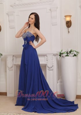 Blue Empire Sweetheart Court Train Chiffon Beading Prom Evening Dress