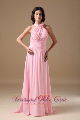 Formal Pink Empire Halter Train Chiffon Maxi Dress