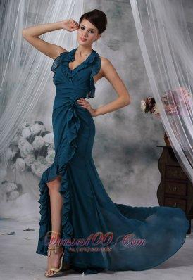 Halter High Slit Teal Chiffon Prom Evening Dress