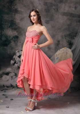 Discount Watermelon Chiffon High-low Homecoming Dress