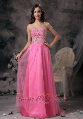 Rose Pink Empire Sweetheart Beading Prom Holiday Dress