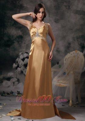 Formal Gold Beading Brush Train Prom Evening Dress