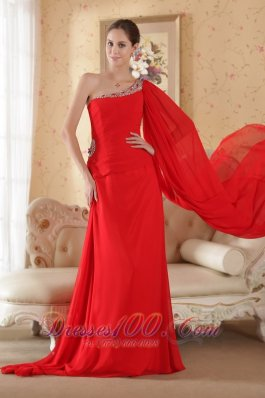One Shoulder Red Watteau Train Chiffon Beading Prom Dress