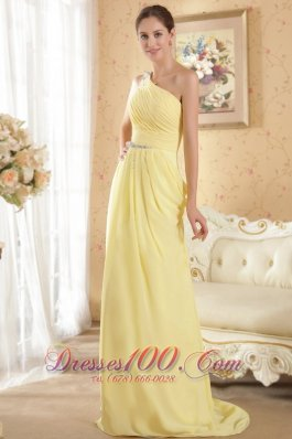 One Shoulder Yellow Column Brush Train Evening Dress