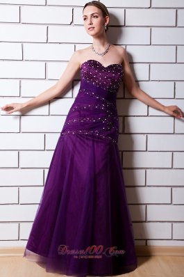 Discount Purple Sweetheart Beading Tulle Prom Dress