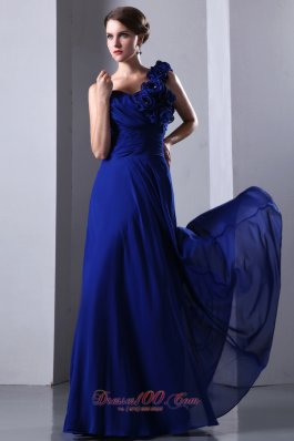 One Shoulder Empire Royal Blue Chiffon Prom Dress