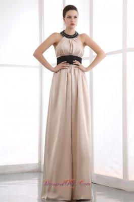 Venice Film Festival Champagne Column Halter Beading Celebrity Dress