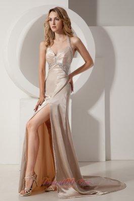 Elastic Champagne Column Halter Court Train Evening Dress