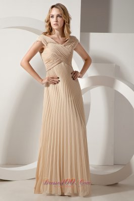 Discount Champagne Column Pleat Chiffon Maxi Dress