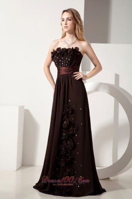 Brown Column Hand Made Flowers Beading Evening Dress