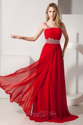 Red Empire Beading One Shoulder Chiffon Prom Dress