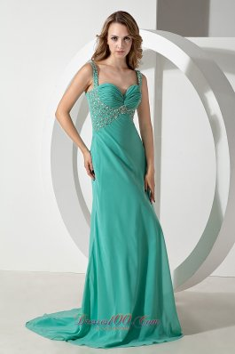 Hollywood Green Column Brush Train Beading Prom Dress