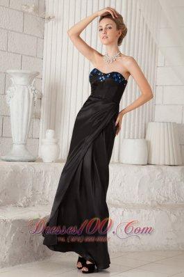 Sweetheart Black Ankle-length Lenkas Formal Evening Dress