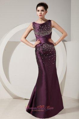 Dark Purple Mermaid Beading Prom Dress 2013
