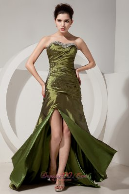 Olive Green Column Beading Brush Train Prom Dress