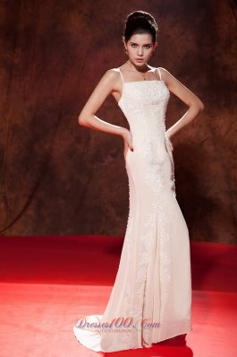 2013 White Mermaid Spaghetti Embroidery Celebrity Evening Dress