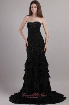 Black Trumpet Court Train Chiffon Beading Prom Evening Dress