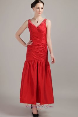 2013 New Style Red Ruch Tea-length Prom Dress