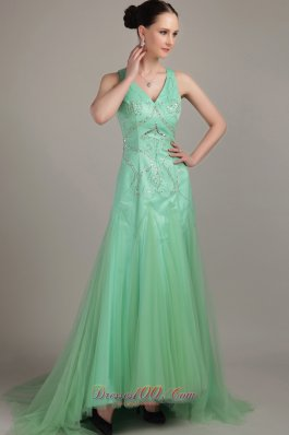 Apple Green Empire Sweep Train Beaidng Prom Dress