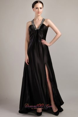 Discount Black Empire V-neck Elastic Maxi Dress