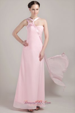 Baby Pink Asymmetrical Ankle-length Chiffon Prom Dress