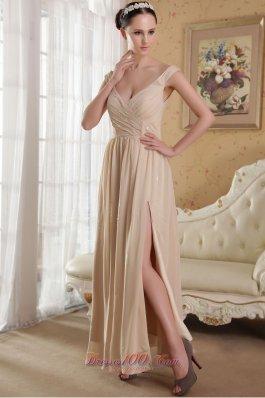 V-neck Side Slit Chiffon Prom Evening Dress Champagne 2013