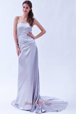 Silver Column Elastic Beading Prom Dress Brush Train