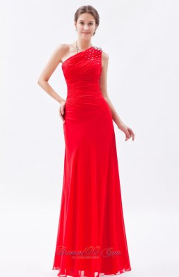 2013 Red Column One Shoulder Beading Prom Dress