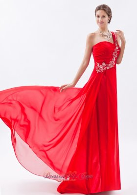 Red One Shoulder Empire Train Embroidery Prom Dress