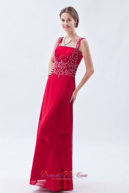 Beading Straps Coral Red Chiffon Prom Dress