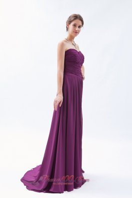 Sweetheart Ruch Brush Train Bridesmaid Dress
