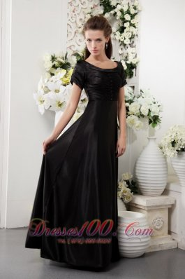 Black Scoop Neck Short Sleeves Mother Of The Bride Dress