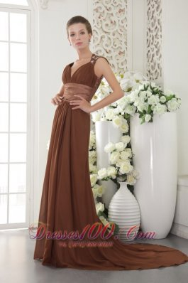 V Neck Beading Waistband Brush Train Prom / Evening Dress