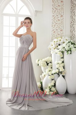 Brush Train Beading Ruch Sweetheart Prom / Evening Dress