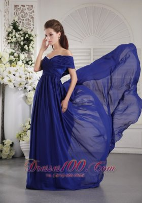 One Shoulder Blue Brush Train Prom / Graduation Dress