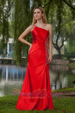 Red One Shoulder Floor-length Beading Prom Dress