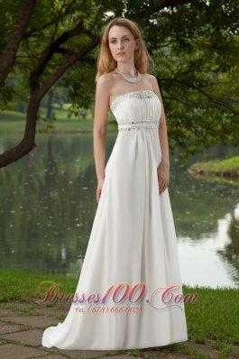 Empire Beading Brush Train Chiffon Prom Dress