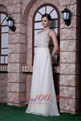 Prom Maxi Dress Beading One Shoulder Floor-length