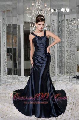 Scoop Beading Brush Train Taffeta Prom / Evening Dress