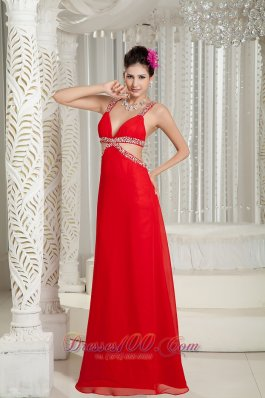 Straps Beading Red Chiffon Evening Dress